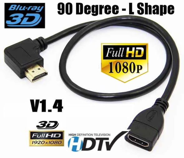 90 Degree Left Right Angle HDMI Extension Lead v1.4 1080P HD HDTV Cable Cord 4K
