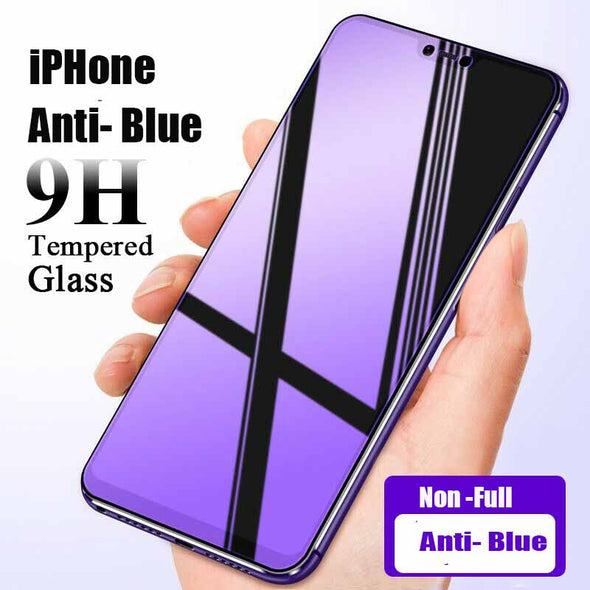 iPhone X Xs MAX 8 7 6 Plus Anti Blue Ray Screen Protector Tempered Glass Film