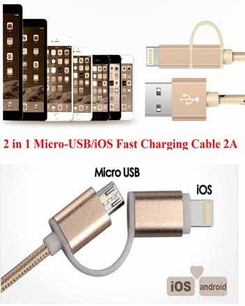 2 in 1 Micro USB /iOS Fast Charging Cable