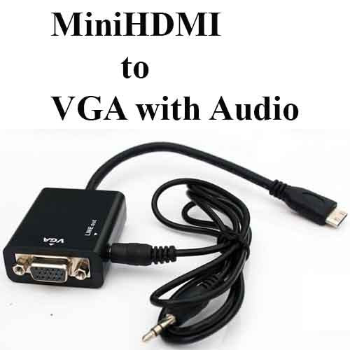 Mini HDMI Male to VGA With Audio HD Video Cable Converter Adapter 1080P for PC
