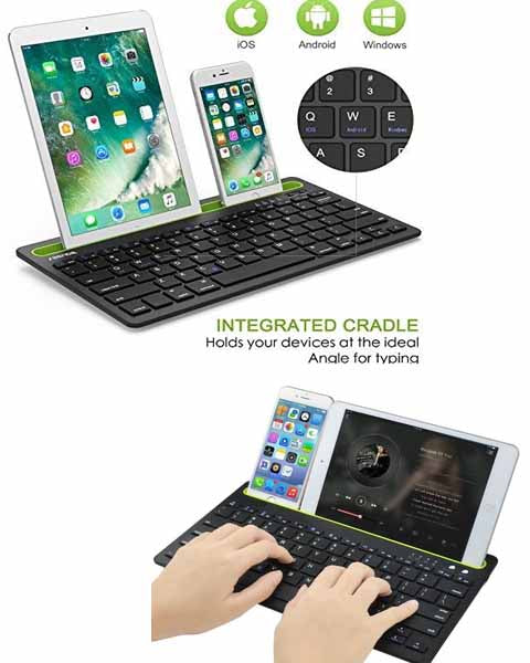 Multi Device Bluetooth Keyboard for iPad iPhone,Smartphones Bluetooth Enabled Devices