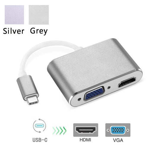 USB- C to HDMI VGA Adapter, 2 in 1 USB 3.1 Type C to VGA HDMI 4K UHD Converter