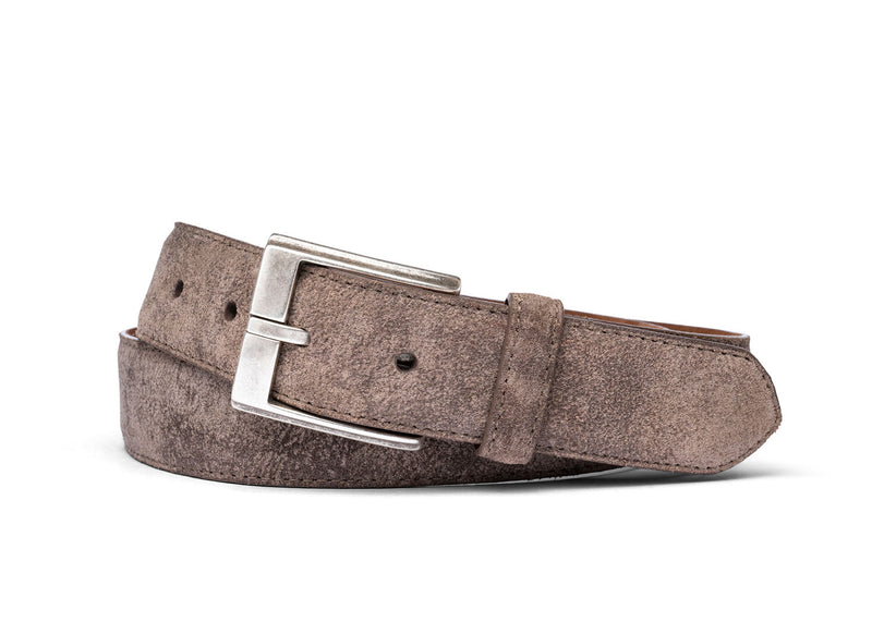 Distressed Suede Belt with Antique Silver Buckle