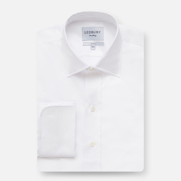 The White Fine Twill French Cuff - Slim