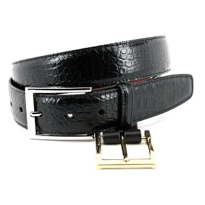 Alligator Grain Embossed Calfskin Belt - Oak Hall