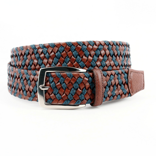 Italian Braided Leather & Linen Belt - Oak Hall