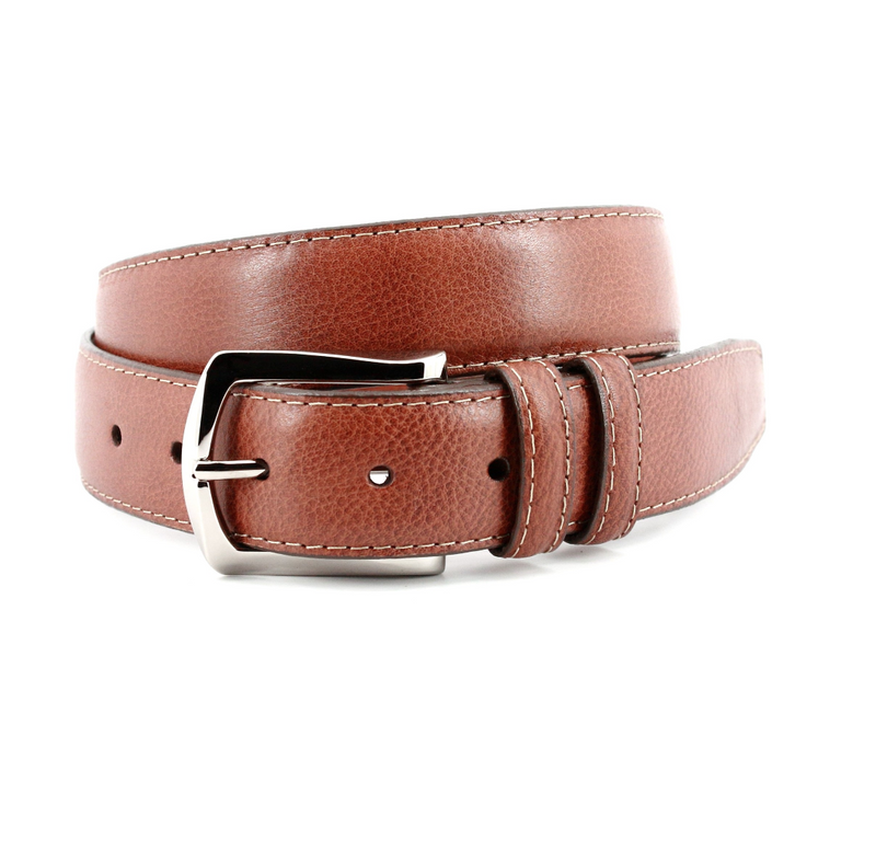 Contrast Stitched Italian Soft Calfskin Belt - Oak Hall, Inc.
