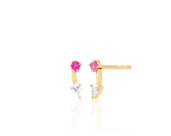 Pink Sapphire Princess and Pear Double Stud Earring