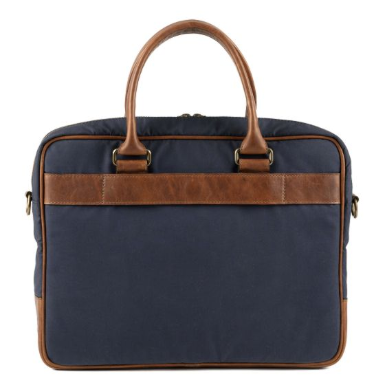 Lewis Flyweight Briefcase in Navy & Baldwin Oak - Oak Hall