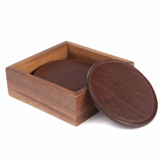 Leather Coasters with Walnut Box - Oak Hall