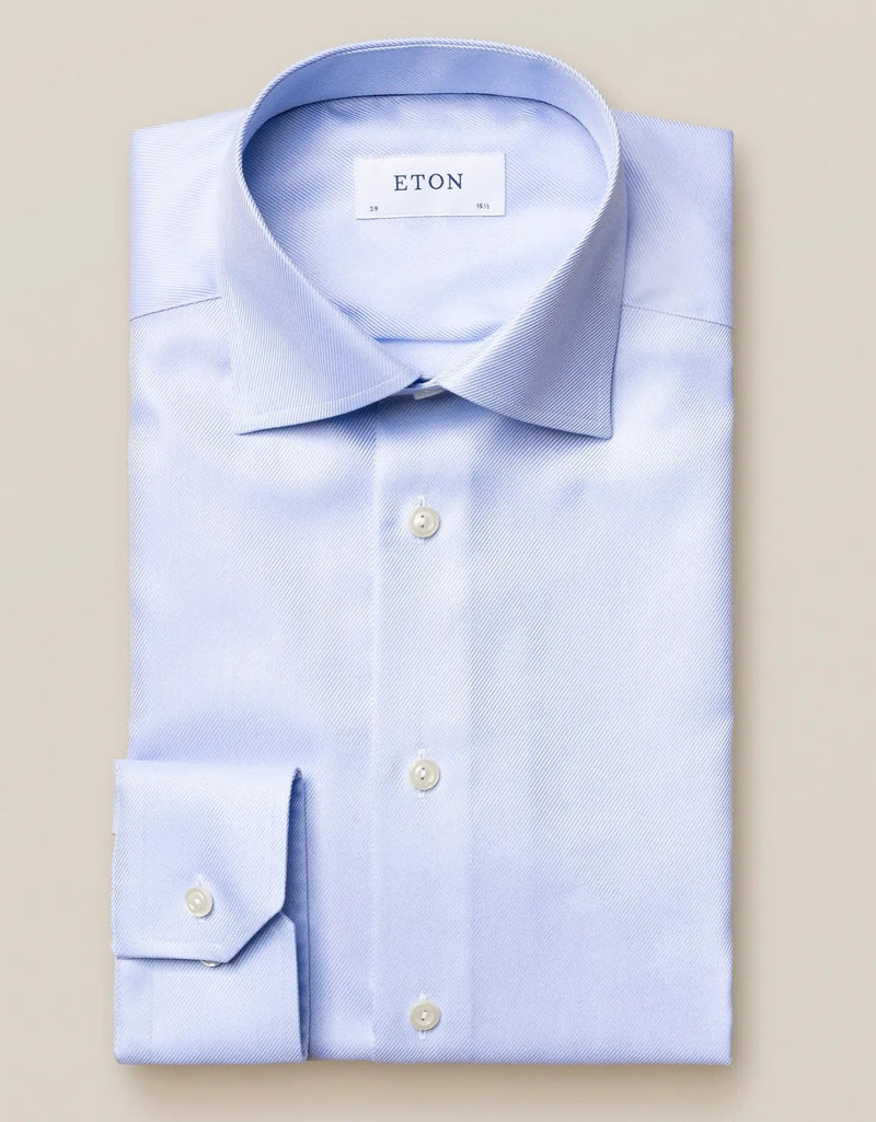 Light blue textured twill shirt - Contemporary - Oak Hall