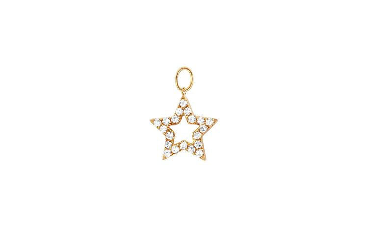Diamond Open Star Huggie Charm - Oak Hall