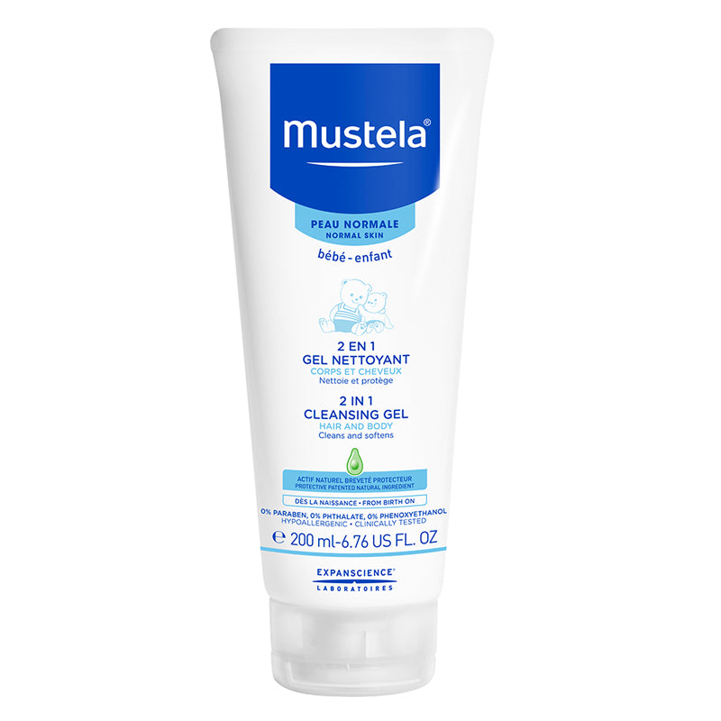 Mustela Baby 2 in 1 Cleansing Gel Body Wash & Shampoo 6.7 Oz