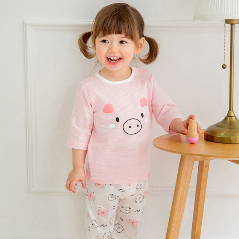 Summer Short Shirt Pajamas Set - Pig