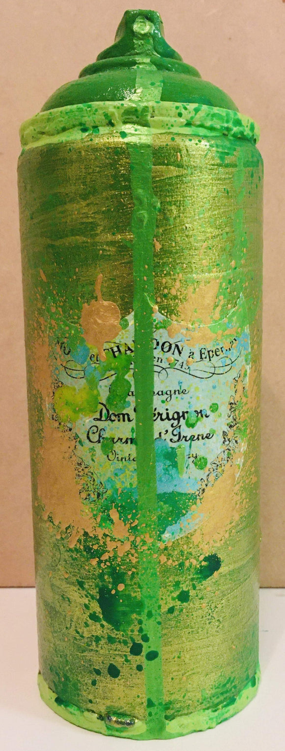 Green Gold Champagne Lime Drip Metal Spray Can Sculpture