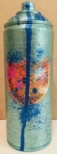 Sky Blue Champagne Sapphire Drip Metal Spray Can Sculpture