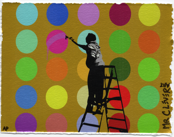 Street Art Ladder Gold Metallic Dots