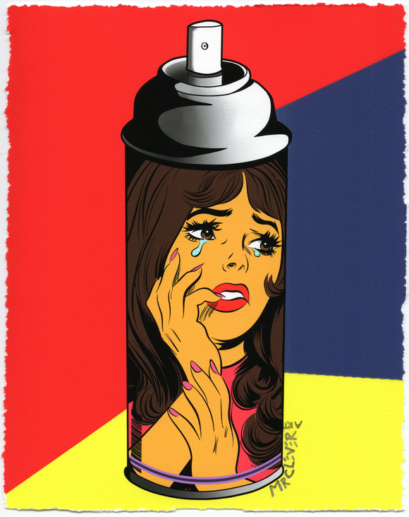 Contemporary Crying Girl Graffiti Spray Can #1