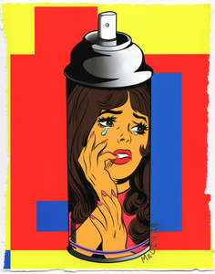 Contemporary Crying Girl Graffiti Spray Can #2