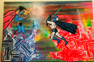 Superhero Smack Down Painting
