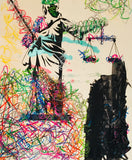 Lady Justice Graffiti Statue Abstract Theory Painting
