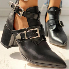 Motorcycle Double Buckle Boots-Shoes-OGONEWYORK | Contemporary Womenswear | Ethical | Kind
