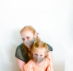 Rose Gold Sequin Kids Face Mask  + 1 HEPA99 Reusable Washable Filter