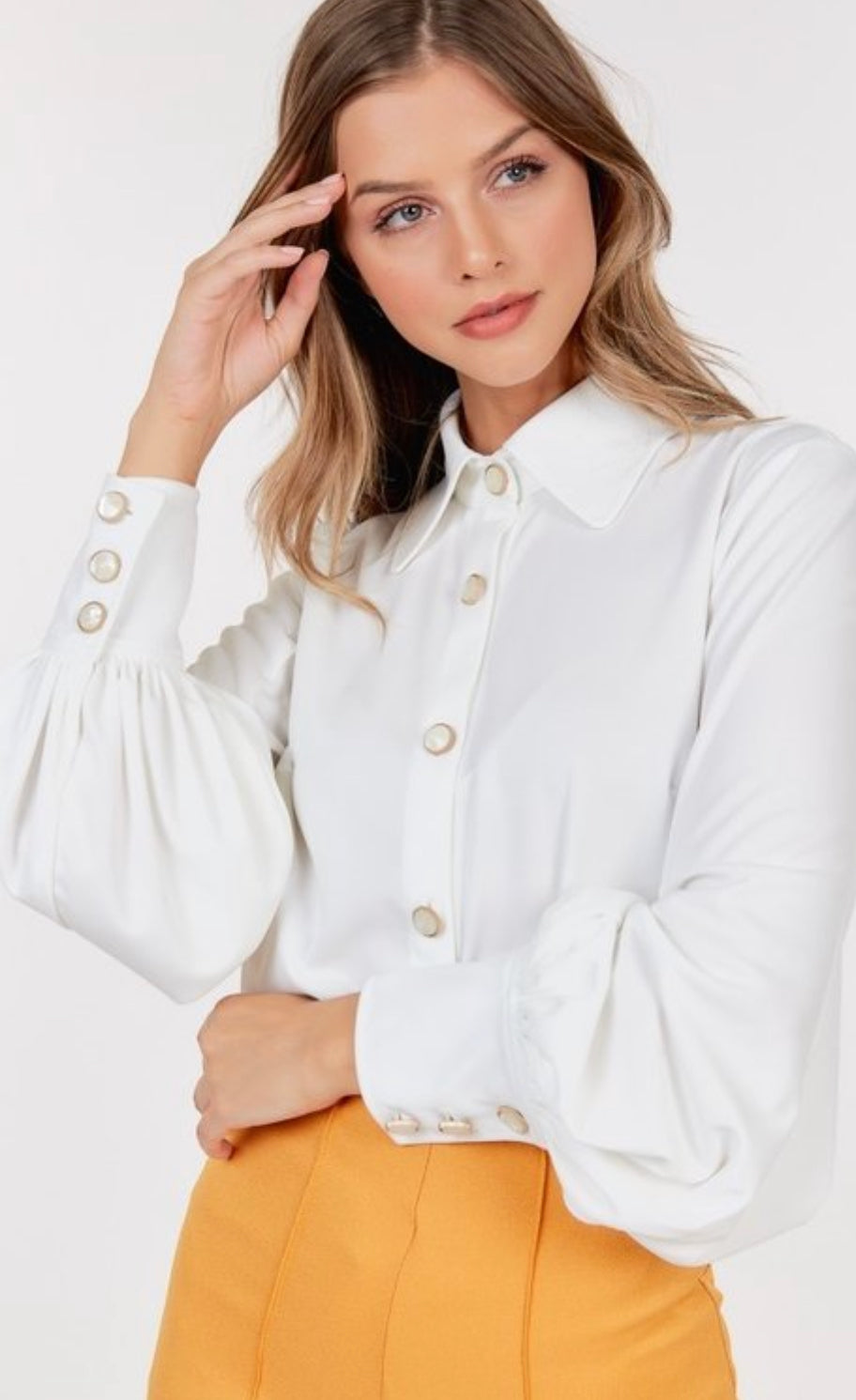 Ivory Puff Sleeve Blouse