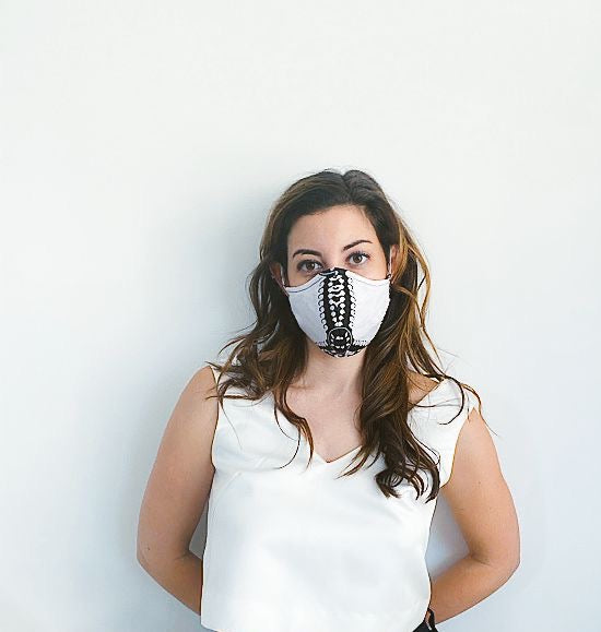 White & Black Print Mask + 1 HEPA Filter-face mask-OGONEWYORK | Contemporary Womenswear | Ethical | Kind