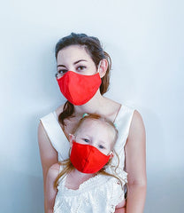 Red Denim Cotton Mask + 1 HEPA Filter-face mask-OGONEWYORK | Contemporary Womenswear | Ethical | Kind