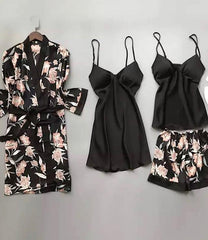 4 Piece Satin Lingerie Pajama Set-Loungewear-OGONEWYORK | Contemporary Womenswear | Ethical | Kind