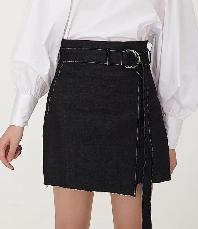 Black Denim  A Line Skirt