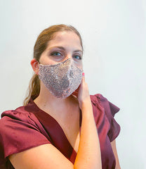 Rose Gold Sequin Mask  + 1 HEPA99 Reusable Washable Filter