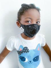 Black Sequin Kids  Face Mask + 1 HEPA99 Reusable Washable Filter
