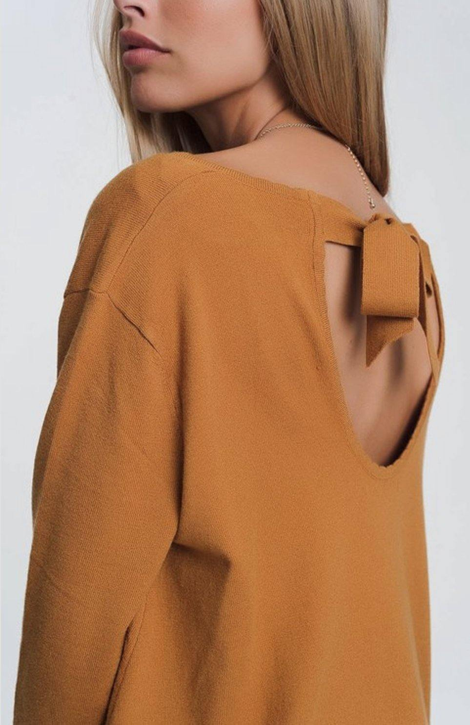 Camel Open Tie-Back Sweater