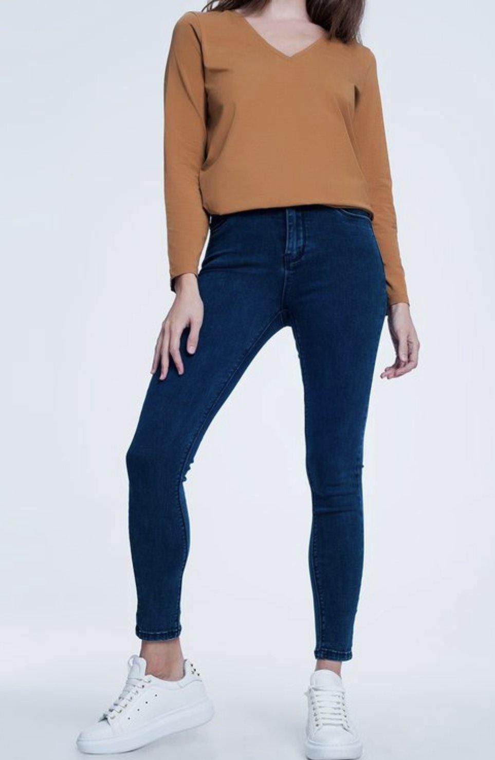 Camel Cotton Cropped Long Sleeve Top