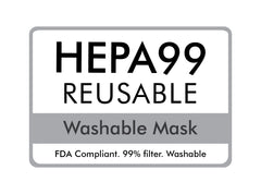 Grey HEPA Drink Face Mask With Washable  Filter Permanently Attached - Medium