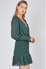 Green Metallic Woven Dress