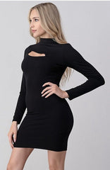 Black Cut Out Knit Dress