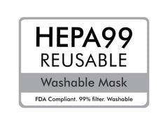 Blue Floral HEPA 3D Cotton Touch-less Face Mask With Washable Filter Permanently Attached - Medium