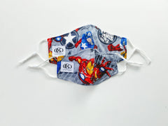 Blue Captain America 100% Cotton Kids Reversible Mask + 1 HEPA Filter-face mask-OGONEWYORK | Contemporary Womenswear | Ethical | Kind