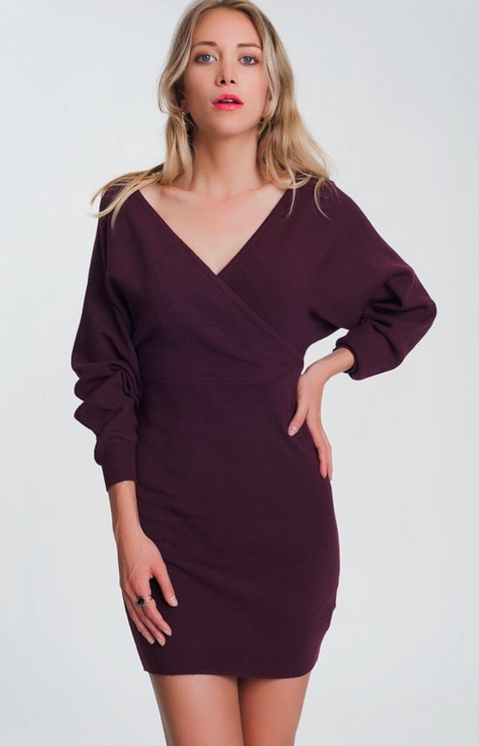 Maroon V Neck  Sweater Dress