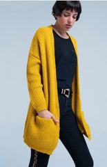 Mustard Thick Wool Blend Cardigan