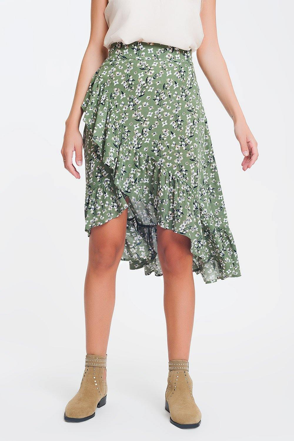 Q2 asymmetric wrap printed green skirt