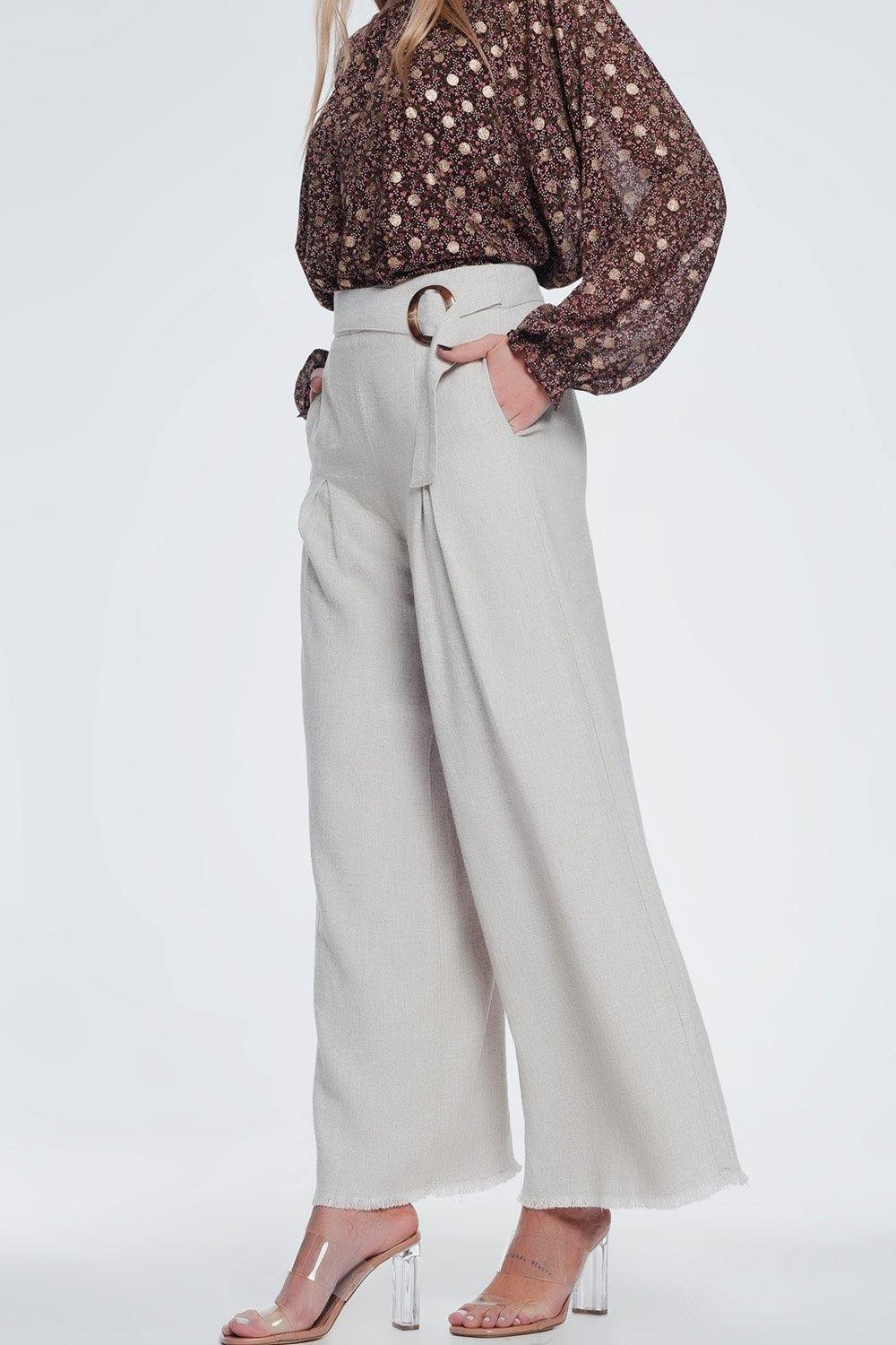 Q2 beige belted high waist wide leg trouser