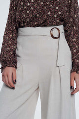 Beige Belted High Waist Wide Leg Pants