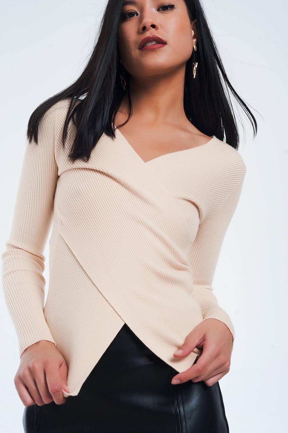 Q2 Beige ribbed wrap sweater with v-neck