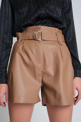 Camel Faux Leather Shorts