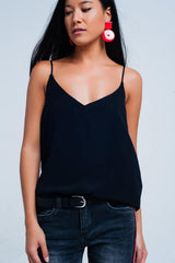 Q2 Black cami top with satin straps