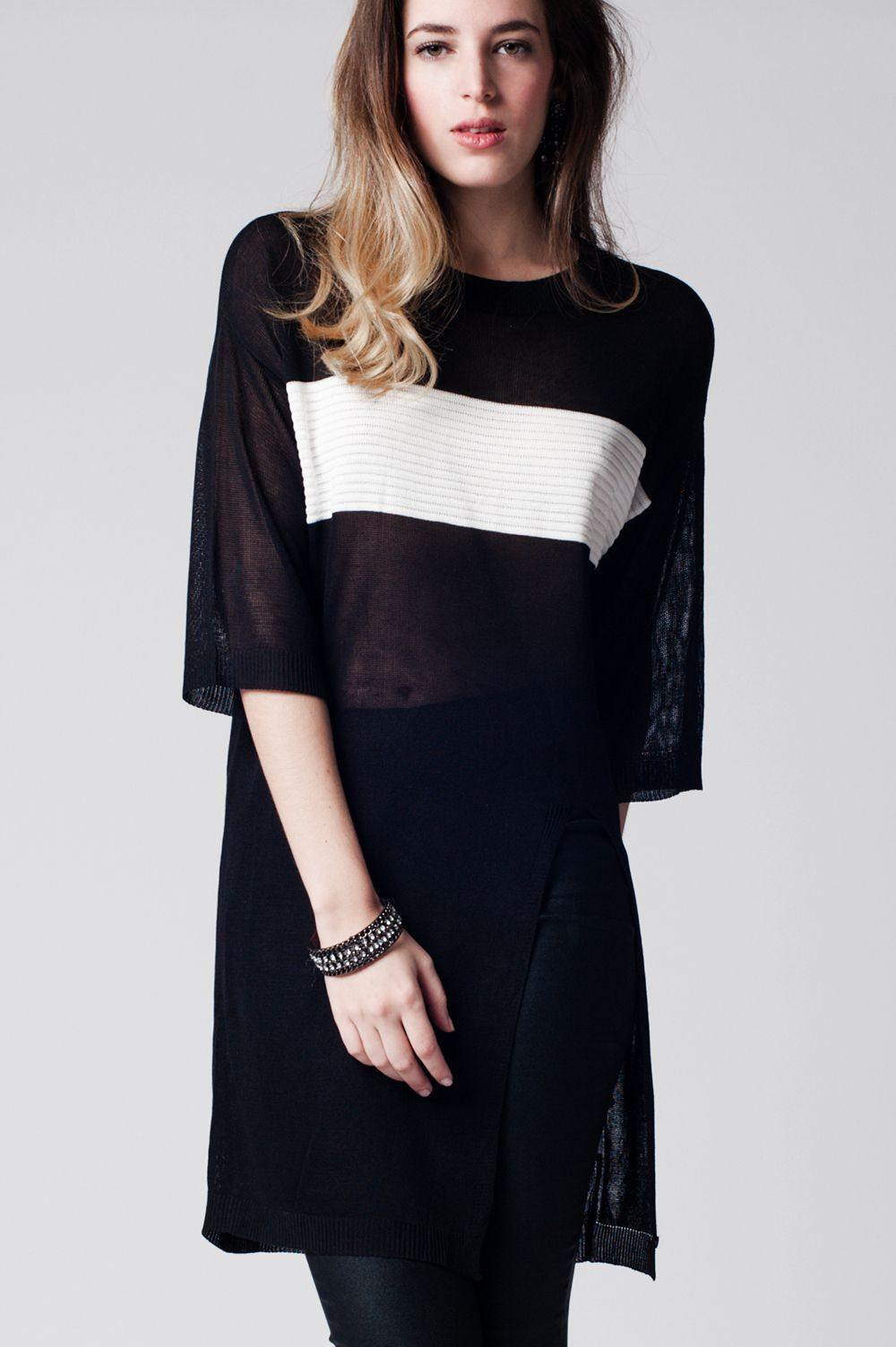Q2 Black longline top with contrast stripe and split front